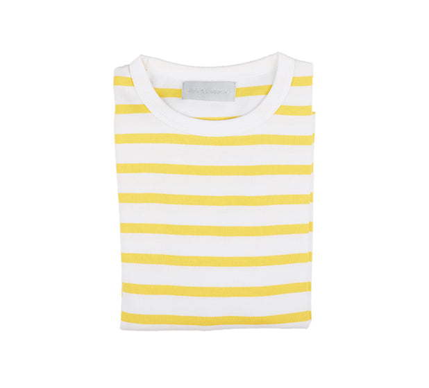 Yellow & White Breton Striped T Shirt