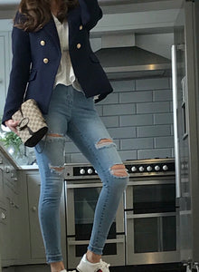 Navy Balmain Inspired Blazer with Gold Buttons – The Runway look