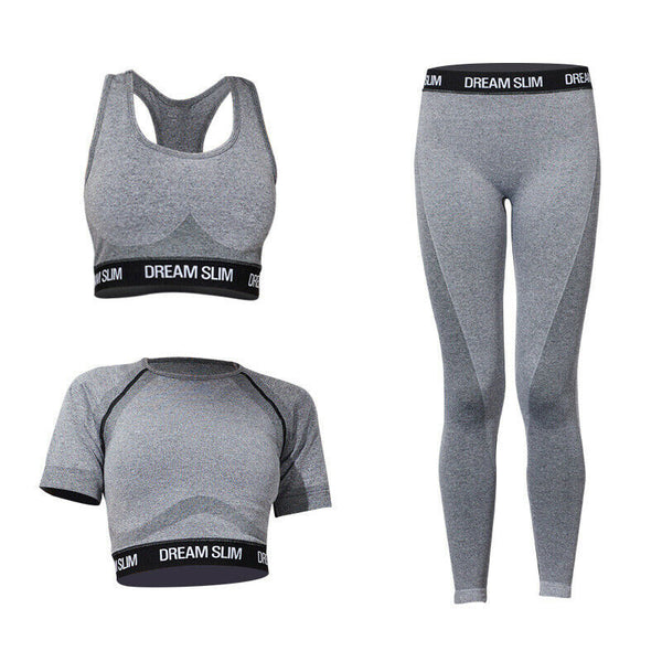 Custom Bra Short-sleeved Pants Three-piece Slim Workout Yoga Set