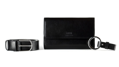 Luxury Leather Belt Bag and Keyring Set - Classic Black