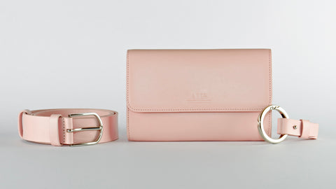 Luxury Leather Belt Bag and Keyring Set  - Classic Blush Pink