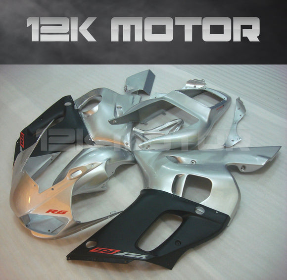 Silver and Black aftermarket Fairing fit for Yamaha R6 1998-2002