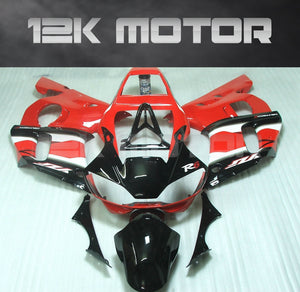 Black and Red aftermarket Fairing fit for Yamaha R6 1998-2002