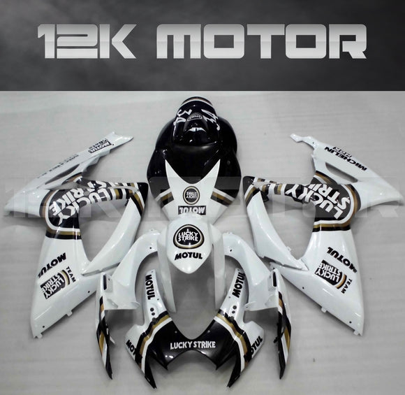 Black Lucky Strike Fairing Fit For SUZUKI GSXR 600/750 2006 2007 Aftermarket Fairing Kit