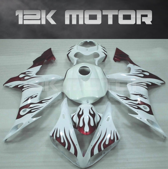 White and Red Flame Fairing For Yamaha R1 2004 2005 2006 Aftermarket Fairing Kit