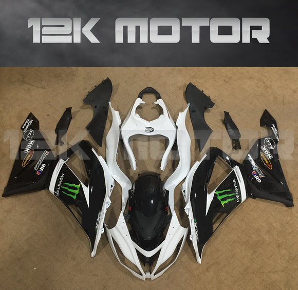 Aftermarket Kawasaki ZX-6R Fairings 2013 2014 2015 2016 2017 2018 Monster Black White Fairing Kit