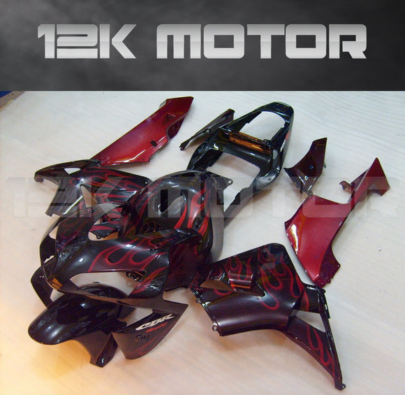 Black with Red Flame Fairing kit Fit for HONDA CBR600RR F5 2003 2004 Aftermarket Fairing Kit