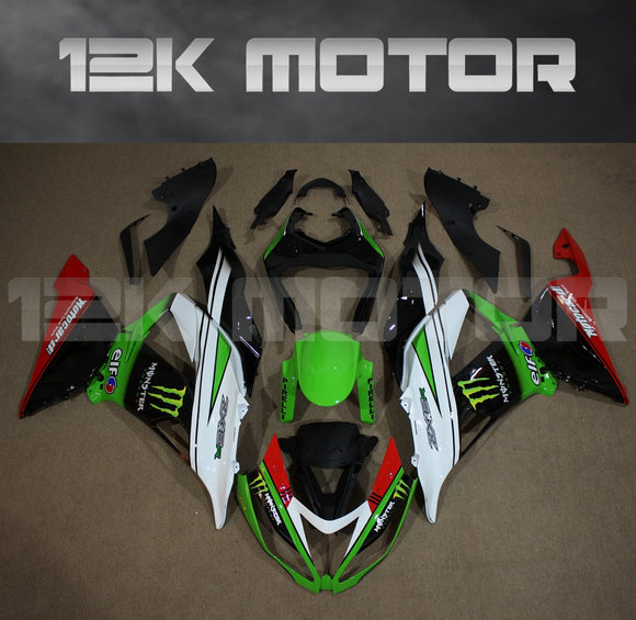 Aftermarket Kawasaki ZX-6R Fairings 2013 2014 2015 2016 2017 2018 Monster Green White Fairing Kit