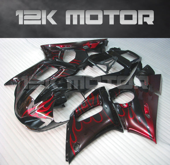 Red Flame aftermarket Fairing fit for Yamaha R6 1998-2002