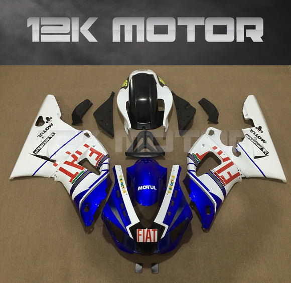 White FIAT Fairing For Yamaha R1 1998 1999 Aftermarket Fairing Kit