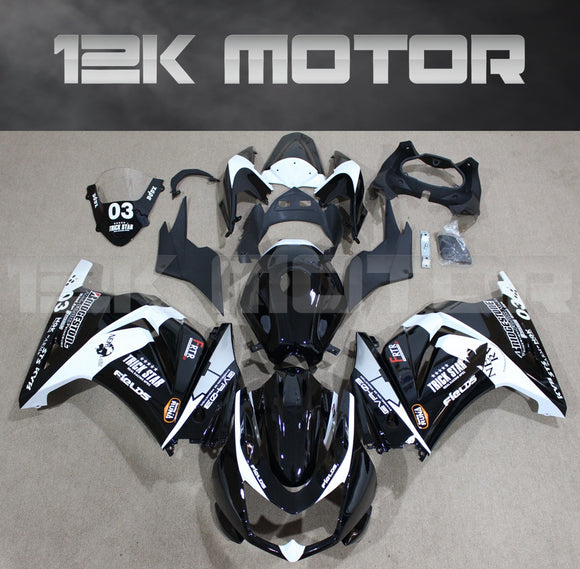 Black White Racing Style Fairings for Ninja 250 2008 - 2012