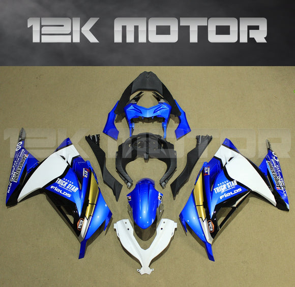 Ninja 300 2013 - 2017 White Blue Fairing kit set