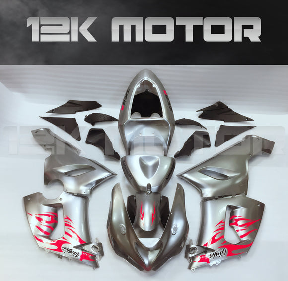 Aftermarket Kawasaki ZX6R Fairings 2005 2006 Fairing Kit Set Silver