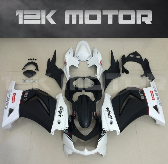 Black White BEET Fairings for Ninja 250 2008 - 2012