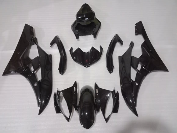 ---AU STOCKING---Fit Yamaha YZF-R6 R6 2006 2007 Plain Gloss Black Fairing Kit