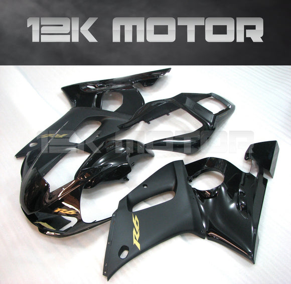 Black and Gold Sticker aftermarket Fairing for Yamaha R6 1998-2002