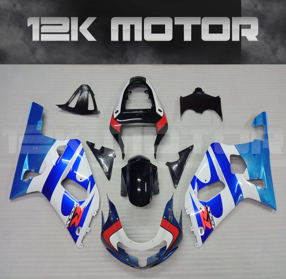 White and Blue Fairing Fit For SUZUKI GSXR 600/750 2000-2003 Aftermarket Fairing Kit