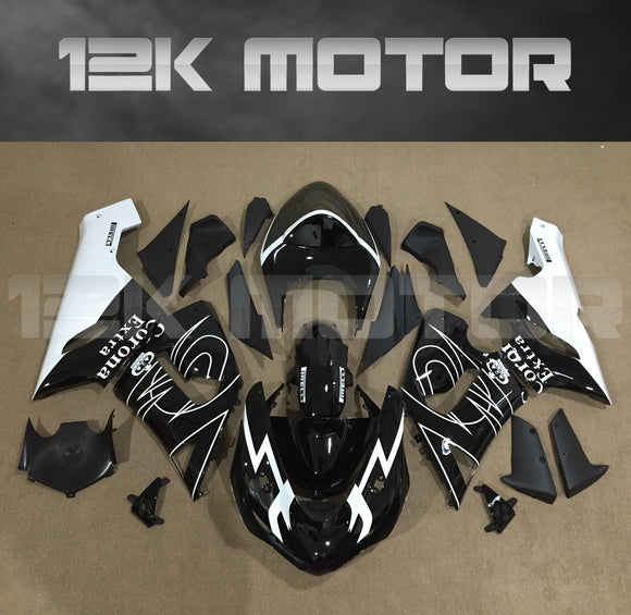 Aftermarket Kawasaki ZX6R Fairings 2005 2006 Fairing Kit Set Corona Black