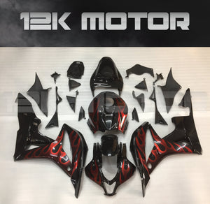 CBR600RR Fairings 2007 2008 Black Red Flame Honda Fairings Set