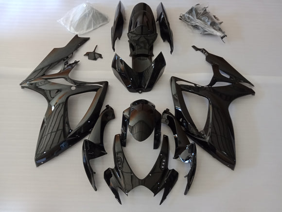 ---AU STOCKING---Gloss Black Fairing Kit For Suzuki GSX-R 600 GSX-R 750 2006 2007