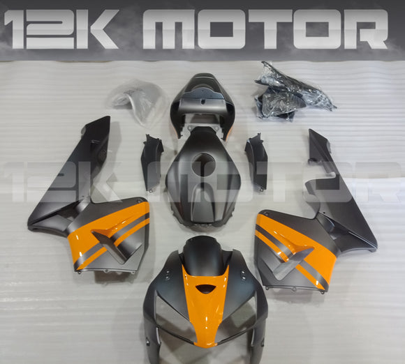 Matt Dark Grey With Yellow Fairing Kit For HONDA CBR600RR 2005 2006
