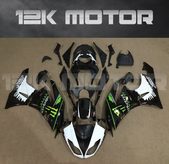 ZX6R Fairing Kit for Kawasaki ZX6R Fairings 2009 to 2012 Black White Monster Fairings