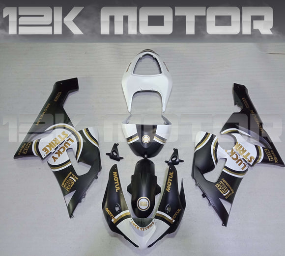 Aftermarket Kawasaki ZX6R Fairings 2005 2006 Fairing Kit Set Lucky Strike Black