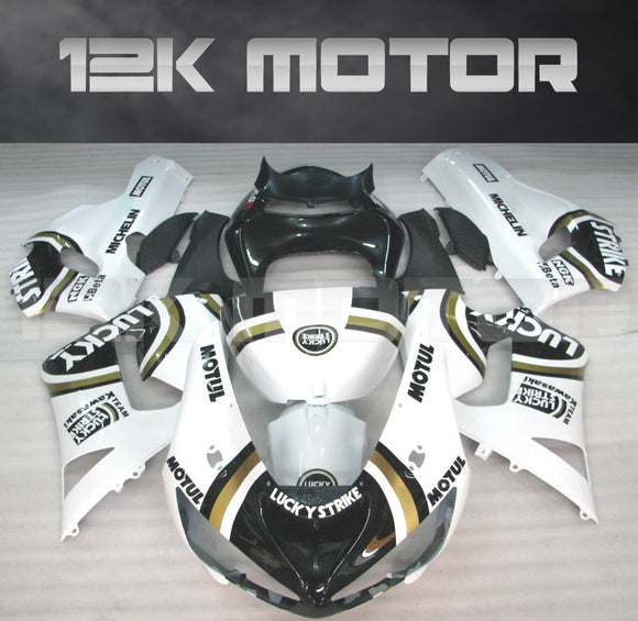 Aftermarket Kawasaki ZX6R Fairings 2005 2006 Fairing Kit Set Lucky Strike White