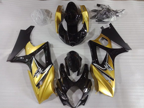 ---AU STOCKING---Black Gold Fairing Kit For Suzuki GSXR GSX-R 1000 2007 2008