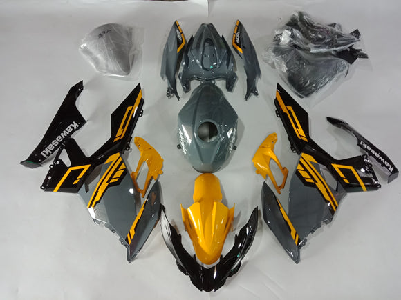 ---AUSTOCKING---Fit Kawasaki Ninja 400 Yellow Grey Fairing Kit With Tank cover and Rear seat cowl