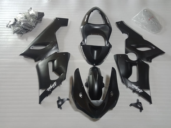 ---AUSTOCKING---Fit Kawasaki ZX-6R 2005 2006 Matt Black Fairing Kit