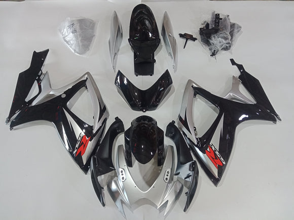 ---AU STOCKING---Black Silver Fairing Kit For Suzuki GSX-R 600 GSX-R 750 2006 2007