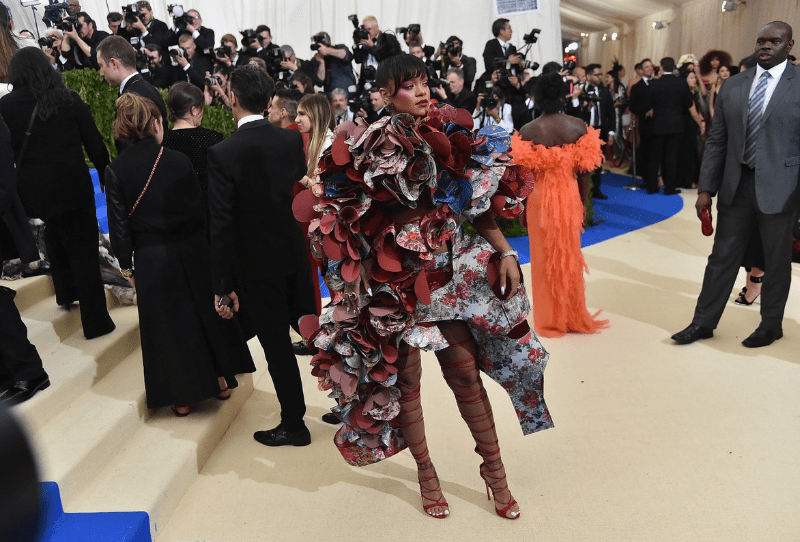 Rihanna at the 2017 Met Gala wearing Comme Des Garcon
