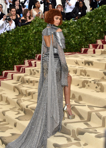 Zendaya wearing a chainmail dress to the Met Gala 2018 in New York City