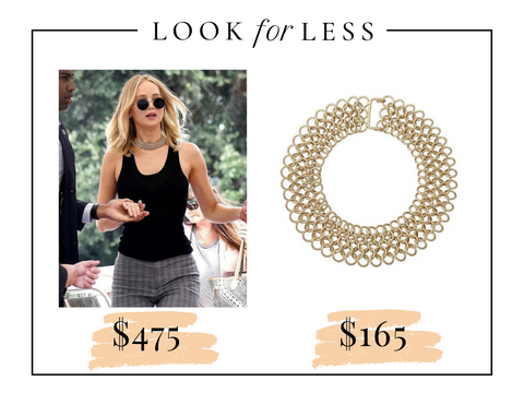 Jennifer Lawrence street style in gold chain choker, black tank top and plaid plants