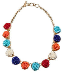 Alchemia gold resin rose multicolor necklace