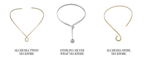Gold minimal swirl neckwire and sterling silver chic necklace