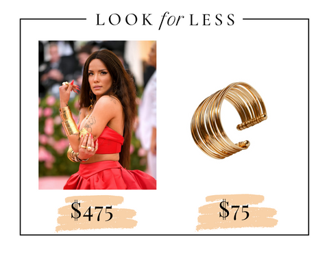 Halsey at the Met Gala in gold cuffs look for less