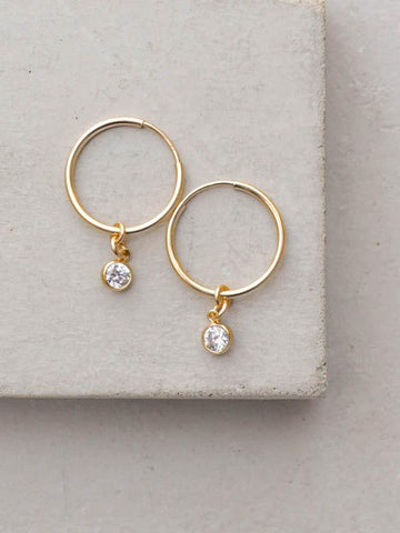 24k gold hoops with diamond charm