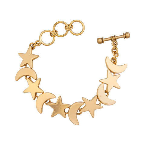Gold moon and star bracelet
