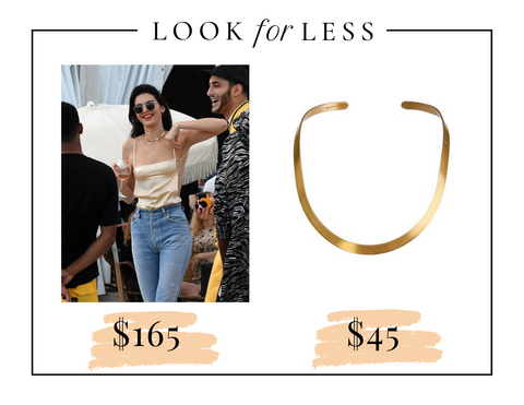 Kendall Jenner Street Style wears champagne spaghetti backless top with gold choker and layered necklaces