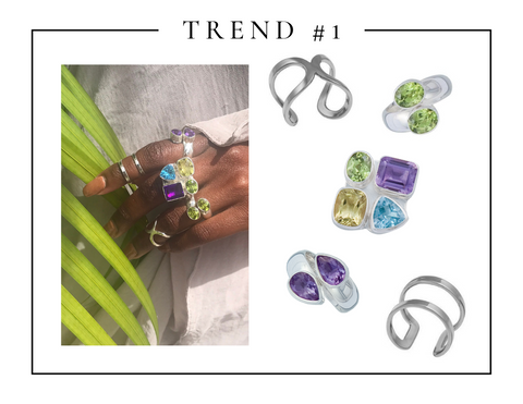 Luxury handmade fine sterling silver amethyst, peridot and citrine rings