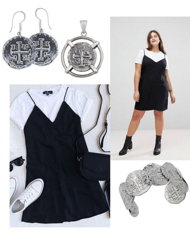 Coin earrings and cuff, accompanied with a black dress and a white t-shirt underneath