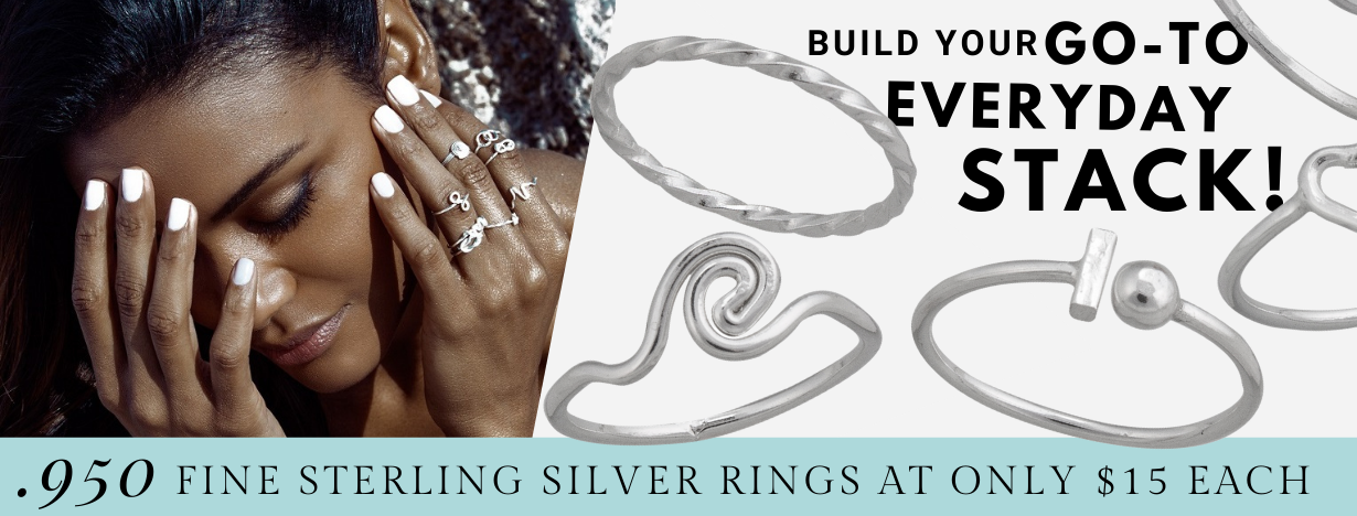$15 Fine .950 Sterling Silver Stackable Rings for the Beach Lover