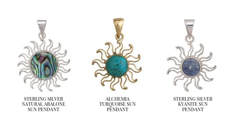 Sterling Silver and Alchemia Gold Gemstone Sun Pendants