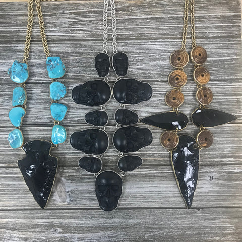 Photo of Alchemia Obsidian Arrowhead Necklaces with Sterling Silver Obsidian Skull Necklace