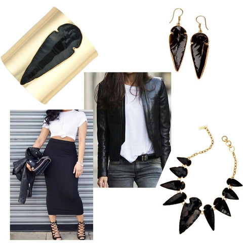 Black jewelry and white t-shirt accompanied with leather clothing