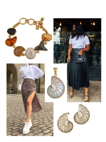 Seashell jewelry with white t-shirt and pencil skirts