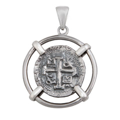 Sterling Silver Spanish Coin Pendant with engraved detailing