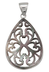 STERLING SILVER MOTHER OF PEARL CUT OUT PENDANT